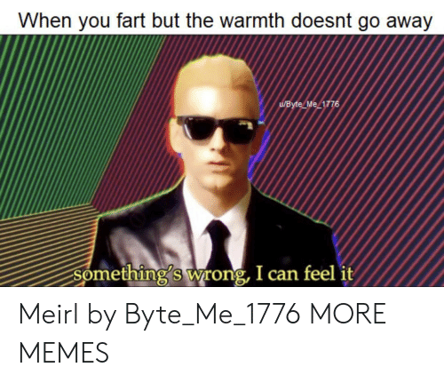 somethings wrong: When you fart but the warmth doesnt go away  UByte Me 1776  Something's wrong, I can feel it Meirl by Byte_Me_1776 MORE MEMES