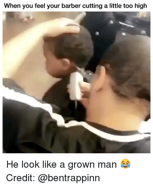 Barber, Memes, and Too High: When you feel your barber cutting a little too high He look like a grown man 😂 Credit: @bentrappinn