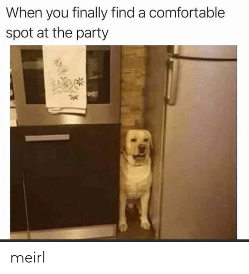 finally: When you finally find a comfortable  spot at the party meirl