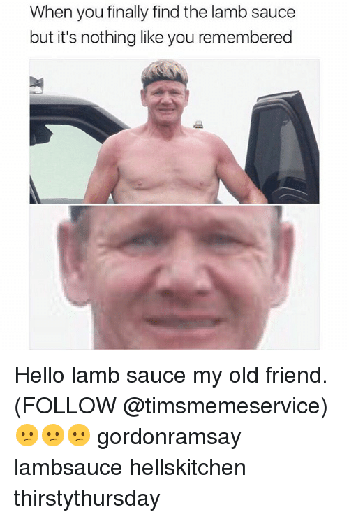 Lamb Sauce: When you finally find the lamb sauce  but it's nothing like you remembered Hello lamb sauce my old friend. (FOLLOW @timsmemeservice) 😕😕😕 gordonramsay lambsauce hellskitchen thirstythursday