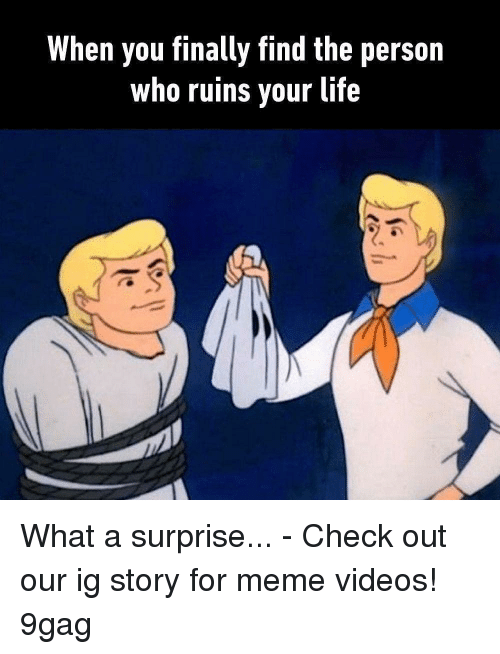 For Meme: When you finally find the person  who ruins vour life What a surprise... - Check out our ig story for meme videos! 9gag