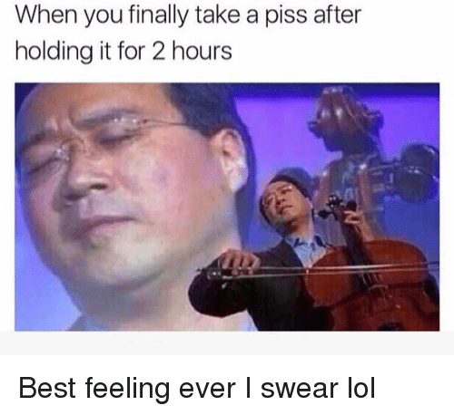 Funny, Lol, and Best: When you finally take a piss after  holding it for 2 hours Best feeling ever I swear lol