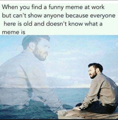 Funny, Meme, and Work: When you find a funny meme at work  but can't show anyone because everyone  here is old and doesn't know what a  meme is