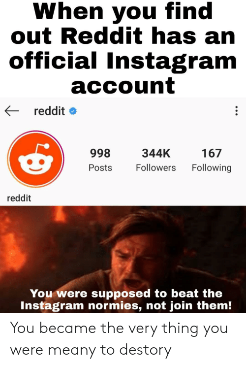 When You Find Out: When you find  out Reddit has an  official Instagram  account  reddit  998  344K  167  Following  Followers  Posts  reddit  You were supposed to beat the  Instagram normies, not join them! You became the very thing you were meany to destory