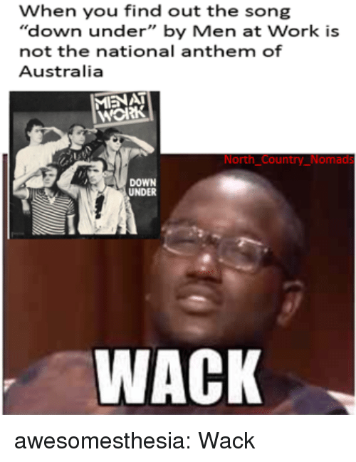 """Tumblr, National Anthem, and Work: When you find out the song  """"down under"""" by Men at Work is  not the national anthem of  Australia  MIENAT  нож  North Country_Nomads  DOWN  UNDER  WACK awesomesthesia:  Wack"""