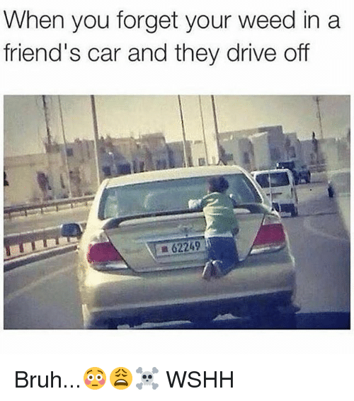 Bruh, Friends, and Memes: When you forget your weed in a  friend's car and they drive off  Bruh...😳😩☠️ WSHH