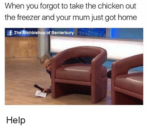 Chicken, Help, and Home: When you forgot to take the chicken out  the freezer and your mum just got home  fThe Archbishop of Banterbury Help