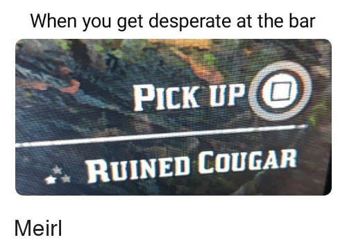Cougared: When you get desperate at the bar  PICK UP O  RUINED COUGAR Meirl