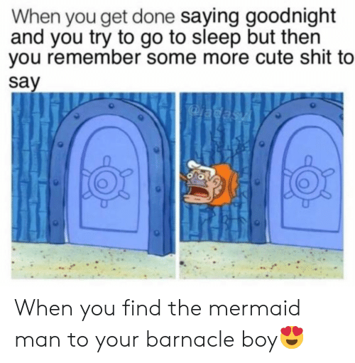 Cute, Go to Sleep, and Shit: When you get done saying goodnight  and you try to go to sleep but then  you remember some more cute shit to  say  adasA When you find the mermaid man to your barnacle boy😍