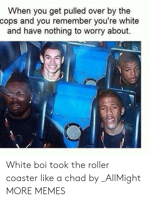 Liked A: When you get pulled over by the  cops and you remember you're white  and have nothing to worry about. White boi took the roller coaster like a chad by _AllMight MORE MEMES