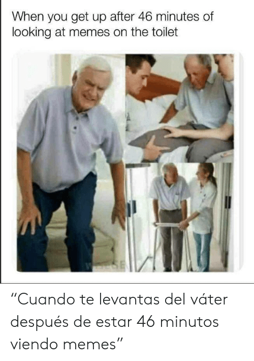 "Memes, Looking, and You: When you get up after 46 minutes of  looking at memes on the toilet  SE ""Cuando te levantas del váter después de estar 46 minutos viendo memes"""