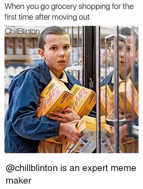 Meme, Memes, and Shopping: When you go grocery shopping for the  first time after moving out  ChilBlinton @chillblinton is an expert meme maker