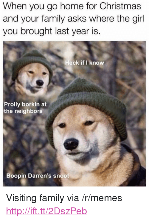 "Christmas, Family, and Memes: When you go home for Christmas  and your family asks where the girl  you brought last year is.  Heck if I know  Prolly borkin at  the neighbors  Boopin Darren's snoot <p>Visiting family via /r/memes <a href=""http://ift.tt/2DszPeb"">http://ift.tt/2DszPeb</a></p>"