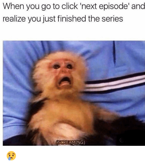 next episode: When you go to click 'next episode' and  realize you just finished the series  SCREAMING) 😢
