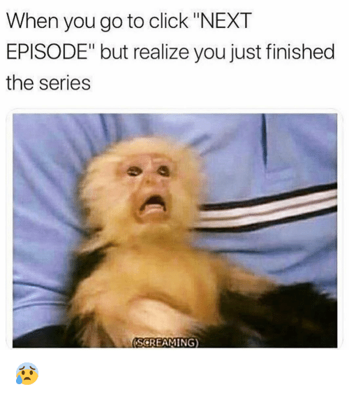 "next episode: When you go to click ""NEXT  EPISODE"" but realize you just finished  the series  (SCREAMING) 😰"