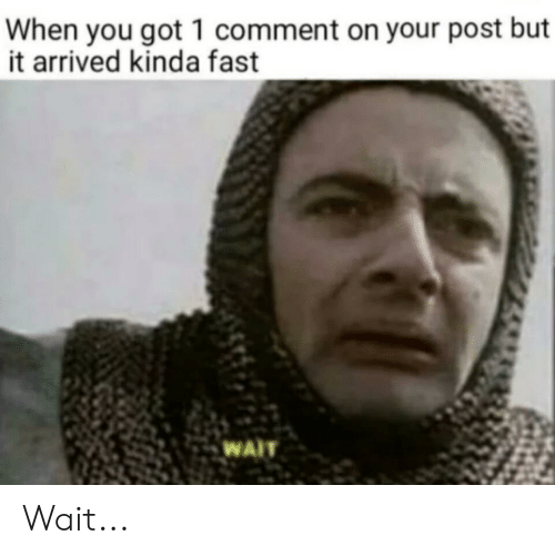 Funny, Got, and Fast: When you got 1 comment on your post but  it arrived kinda fast  WAIT Wait...