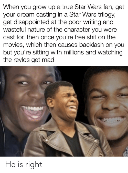 Youre Free: When you grow up a true Star Wars fan, get  your dream casting in a Star Wars trilogy,  get disappointed at the poor writing and  wasteful nature of the character you were  cast for, then once you're free shit on the  movies, which then causes backlash on you  but you're sitting with millions and watching  the reylos get mad He is right