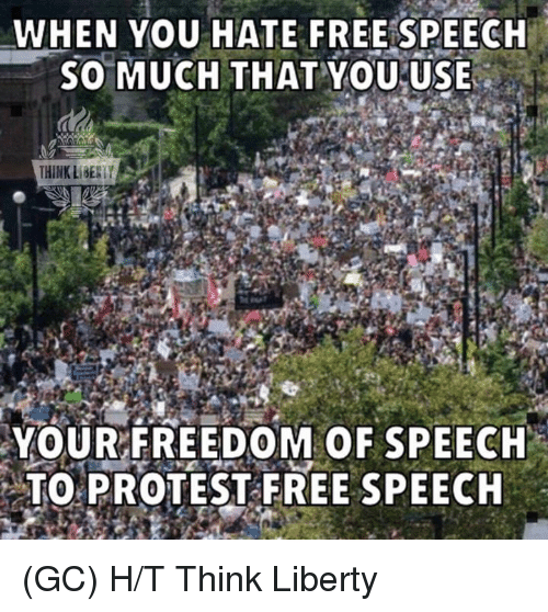 protestant: WHEN YOU HATE FREESPEECH  SO MUCH THAT YOU USE  THINK LIBESTY  YOURFREEDOM OF SPEECH  TO PROTEST FREE SPEECH (GC) H/T Think Liberty