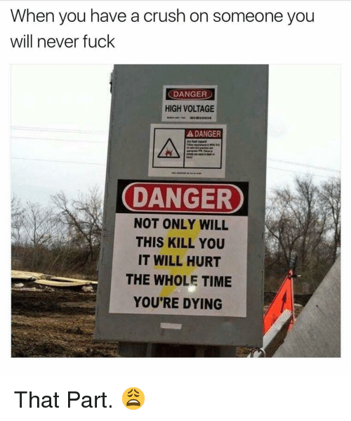 voltage: When you have a crush on someone you  will never fuck  DANGER  HIGH VOLTAGE  DANGER  DANGER  DANGER  NOT ONLY WILL  THIS KILL YOU  IT WILL HURT  THE WHOLE TIME  YOU'RE DYING That Part. 😩