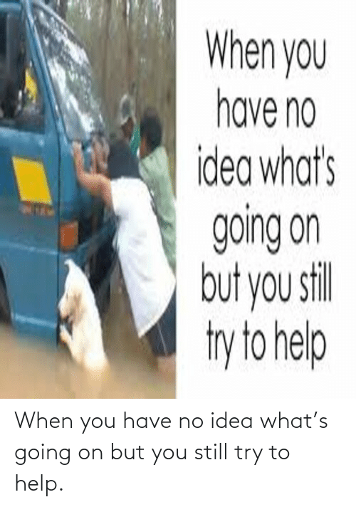 When You Have: When you have no idea what's going on but you still try to help.