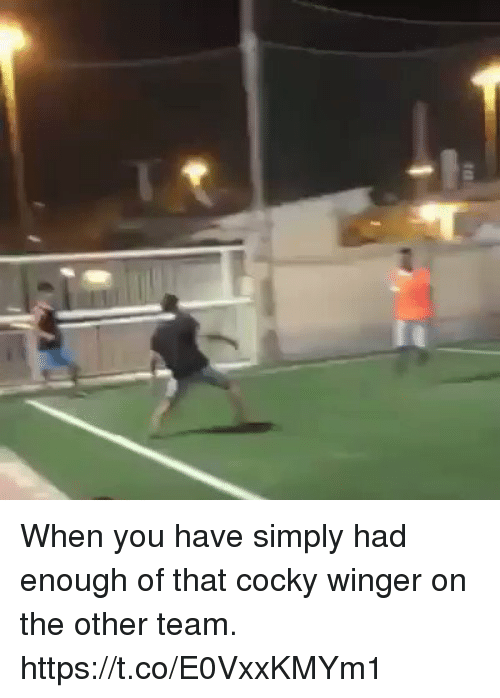winger: When you have simply had enough of that cocky winger on the other team. https://t.co/E0VxxKMYm1