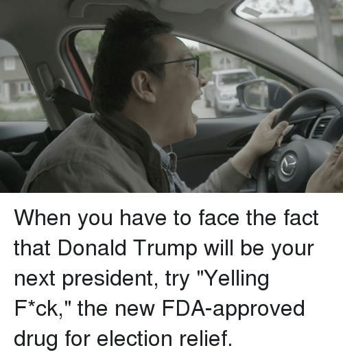 """Approvation: When you have to face the fact that Donald Trump will be your next president, try """"Yelling F*ck,"""" the new FDA-approved drug for election relief."""