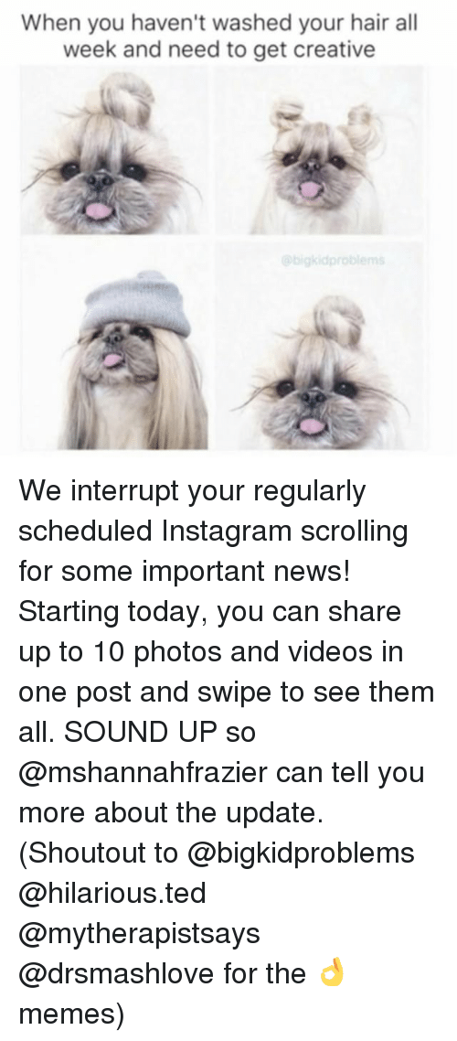 Creativer: When you haven't washed your hair all  week and need to get creative  bigkid problems We interrupt your regularly scheduled Instagram scrolling for some important news! Starting today, you can share up to 10 photos and videos in one post and swipe to see them all. SOUND UP so @mshannahfrazier can tell you more about the update. (Shoutout to @bigkidproblems @hilarious.ted @mytherapistsays @drsmashlove for the 👌 memes)