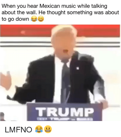 Memes, Music, and Trump: When you hear Mexican music while talking  about the wall. He thought something was about  to go down  TRUMP LMFNO 😂😬