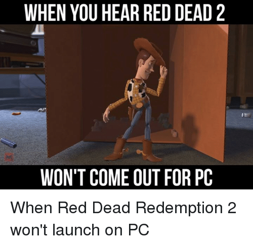Memes, Red Dead Redemption, and 🤖: WHEN YOU HEAR RED DEAD 2  WON'T COME OUT FOR PC When Red Dead Redemption 2 won't launch on PC