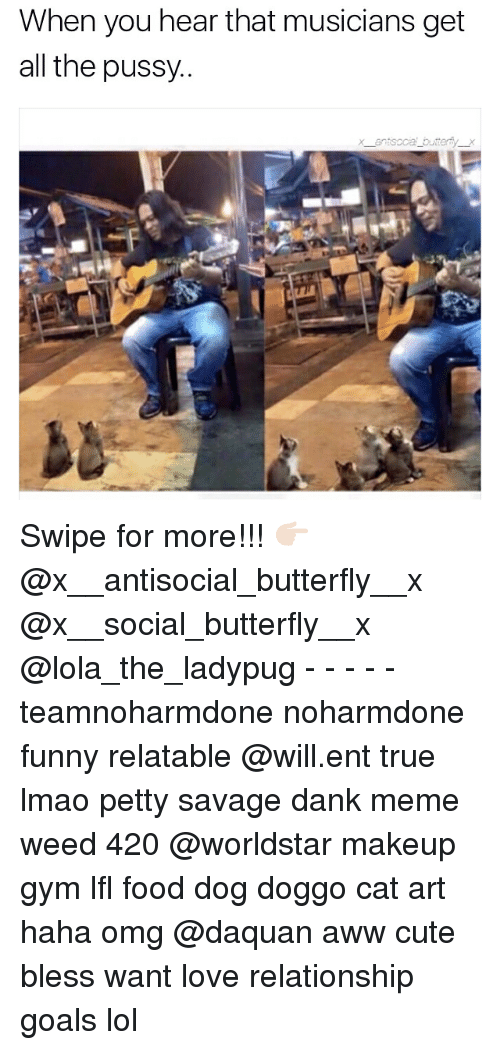 Memes, 🤖, and Doggo: When you hear that musicians get  all the  pussy.  an soca bu er Swipe for more!!! 👉🏻 @x__antisocial_butterfly__x @x__social_butterfly__x @lola_the_ladypug - - - - - teamnoharmdone noharmdone funny relatable @will.ent true lmao petty savage dank meme weed 420 @worldstar makeup gym lfl food dog doggo cat art haha omg @daquan aww cute bless want love relationship goals lol
