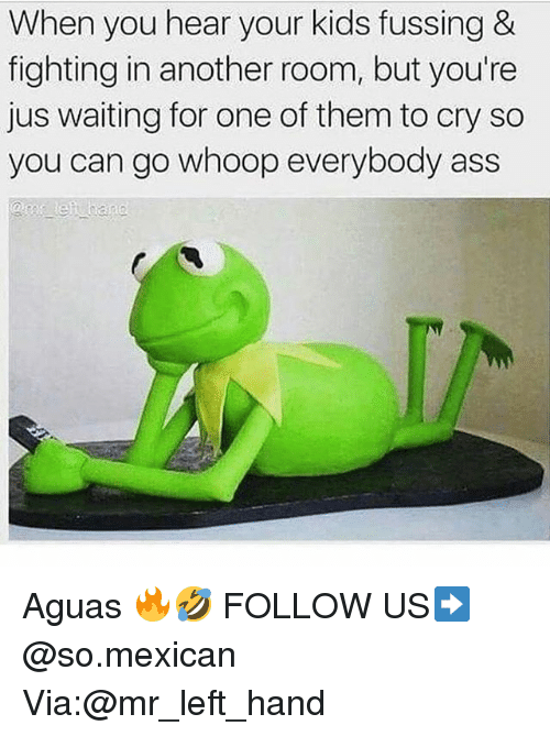 Ass, Memes, and Kids: When you hear your kids fussing &  fighting in another room, but you're  jus waiting for one of them to cry so  you can go whoop everybody ass Aguas 🔥🤣 FOLLOW US➡️ @so.mexican Via:@mr_left_hand