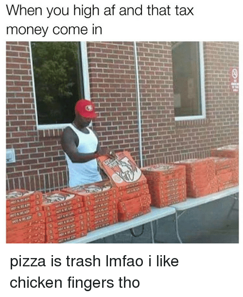 Tax Money: When you high af and that tax  money come in pizza is trash lmfao i like chicken fingers tho