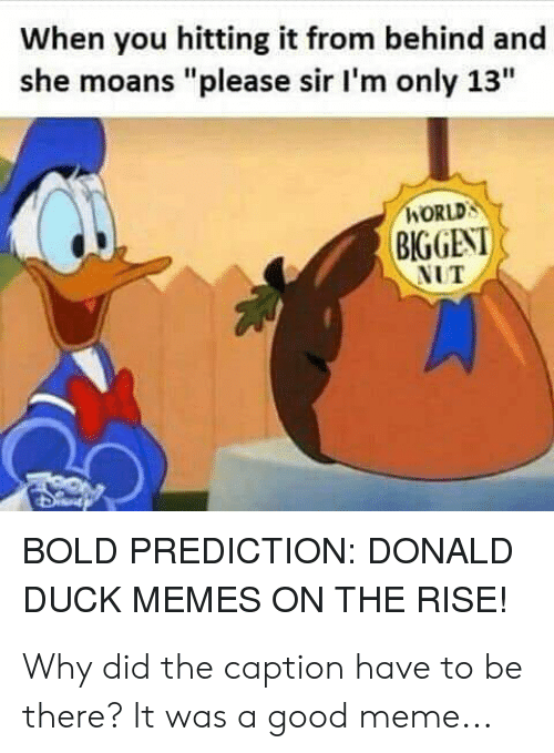 """When You Hitting It From Behind: When you hitting it from behind and  she moans """"please sir I'm only 13""""  ORLD  BIGGEST  NUT  BOLD PREDICTION: DONALD  DUCK MEMES ON THE RISE! Why did the caption have to be there? It was a good meme..."""