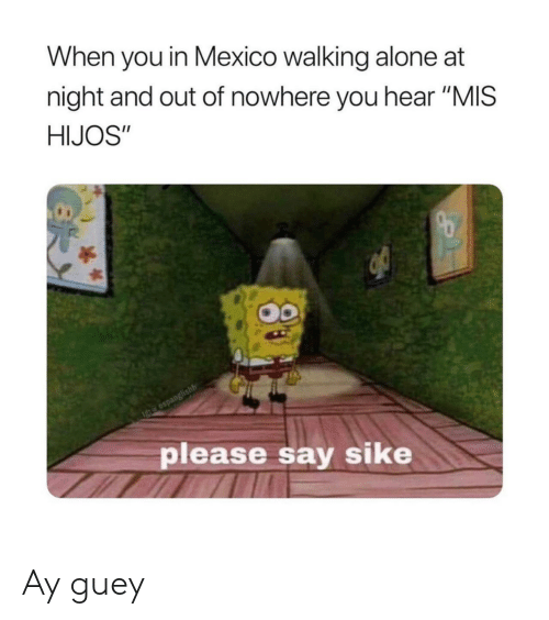 "sike: When you in Mexico walking alone at  night and out of nowhere you hear ""MIS  HIJOS""  Igte espanglishh  please say sike Ay guey"
