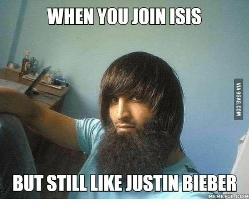 Bieber Memes: WHEN YOU JOIN ISIS  BUT STILL LIKE JUSTIN BIEBER  MEME EULCOM