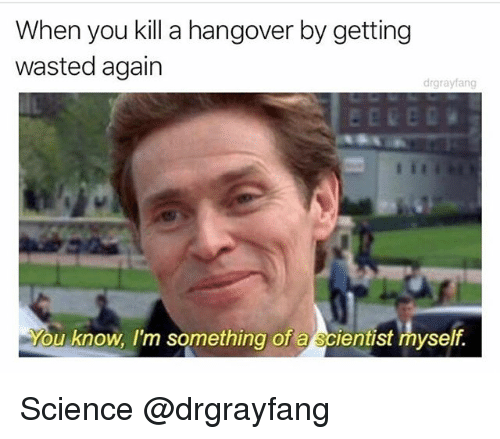 Hangover, Science, and Dank Memes: When you kill a hangover by getting  wasted again  drgraylang  u know, I'm something of a scientist myself. Science @drgrayfang