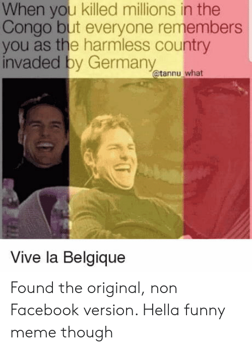 Facebook, Funny, and Meme: When you killed millions in the  Congo but everyone remembers  you as the harmless country  invaded by Germany  @tannu what  Vive la Belgique Found the original, non Facebook version. Hella funny meme though