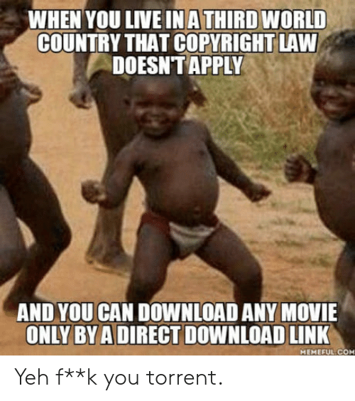 Torrent: WHEN YOU LIVE IN A THIRD WORLD  COUNTRY THAT COPYRIGHT LAW  DOESNT APPLY  AND YOU CAN DOWNLOAD ANY MOVIE  ONLY BY ADIRECT DOWNLOAD LINK  MEMEFUL COM Yeh  f**k you torrent.