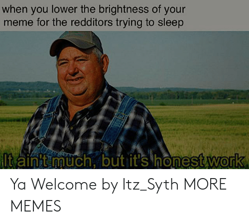 Your Meme: when you lower the brightness of your  meme for the redditors trying to sleep  ltain t much, but it's honest work Ya Welcome by Itz_Syth MORE MEMES