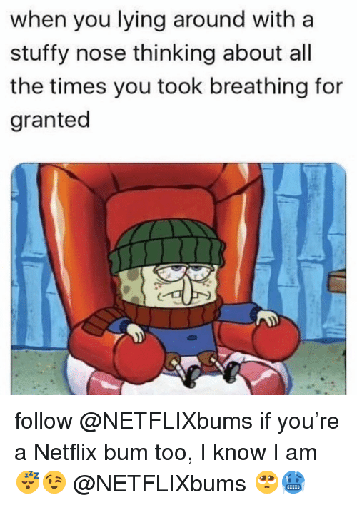 Memes, Netflix, and Lying: when you lying around with a  stuffy nose thinking about all  the times you took breathing for  granted follow @NETFLIXbums if you're a Netflix bum too, I know I am😴😉 @NETFLIXbums 🥺🥶