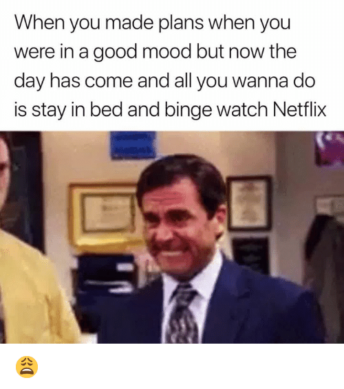 Mood, Netflix, and Good: When you made plans when you  were in a good mood but now the  day has come and all you wanna do  is stay in bed and binge watch Netflix 😩