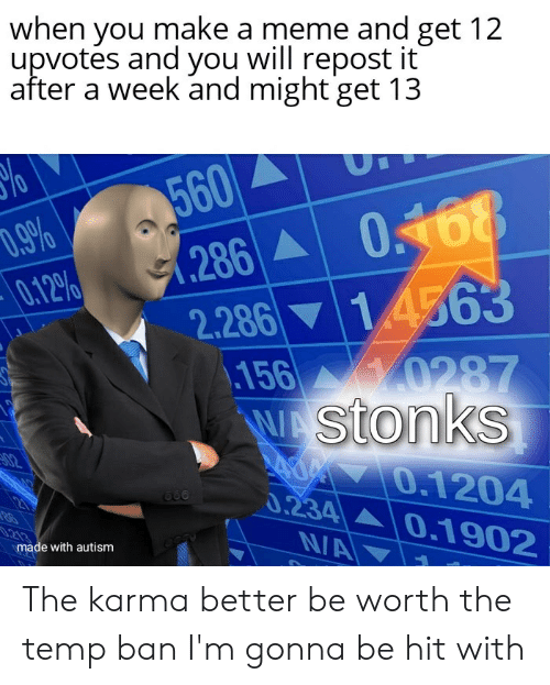 Meme, Autism, and Karma: when you make a meme and get 12  upvotes and you will repost it  after a week and might get 13  560  (286 0168  %o  D.9%  0.12%  1.4563  2.286  156 0287  WAStonks  AOM 0.1204  0.234 0.1902  02  .213  N/A  made with autism The karma better be worth the temp ban I'm gonna be hit with