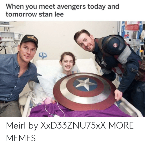 Dank, Memes, and Stan: When you meet avengers today and  tomorrow stan lee Meirl by XxD33ZNU75xX MORE MEMES