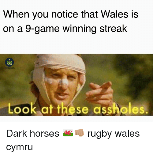 Horses, Memes, and Game: When you notice that Wales is  on a 9-game winning streak  RUGBY  MEMES  nstagham  Look at these assholes. Dark horses 🏴👊🏽 rugby wales cymru