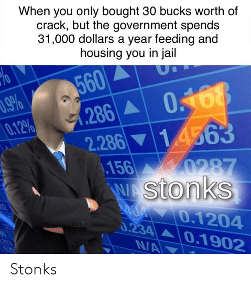 Jail, Government, and Crack: When you only bought 30 bucks worth of  crack, but the government spends  31,000 dollars a year feeding and  housing you in jail  560  286 0468  14563  9%  0.12%  2.286  156 0287  WAStonks  d 0.1204  0.234 0.1902  NA  2  0Z7 Stonks