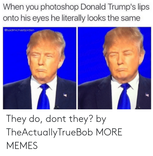 Dank, Memes, and Photoshop: When you photoshop Donald Trump's lips  onto his eyes he literally looks the same  @sadmichaeljordan They do, dont they? by TheActuallyTrueBob MORE MEMES