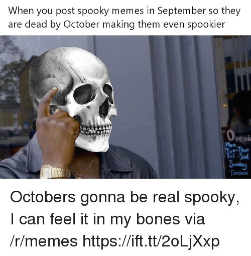 Bones, Memes, and Spooky: When you post spooky memes in September so they  are dead by October making them even spookier  -Thur Octobers gonna be real spooky, I can feel it in my bones via /r/memes https://ift.tt/2oLjXxp