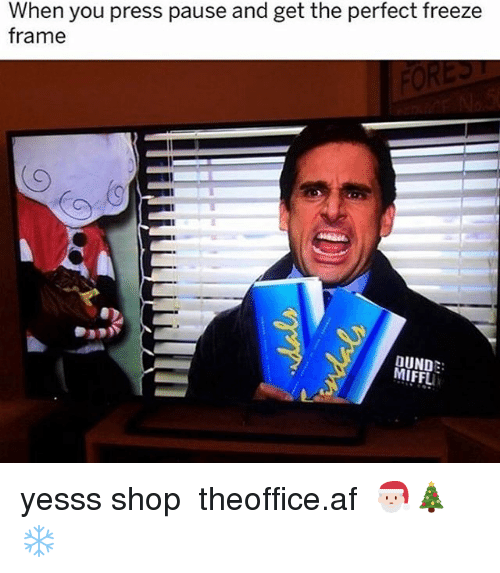 Freeze Frame: When you press pause and get the perfect freeze  frame  DUND:  MIFFLI yesss shop ➵ theoffice.af 🎅🏻🎄❄️