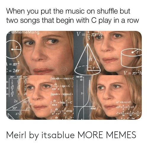 Dank, Memes, and Music: When you put the music on shuffle but  two songs that begin with C play in a row  gMemeMang  300 45 60  10  3  gadxe  2x  +C  sin x  30°  arcig Meirl by itsablue MORE MEMES