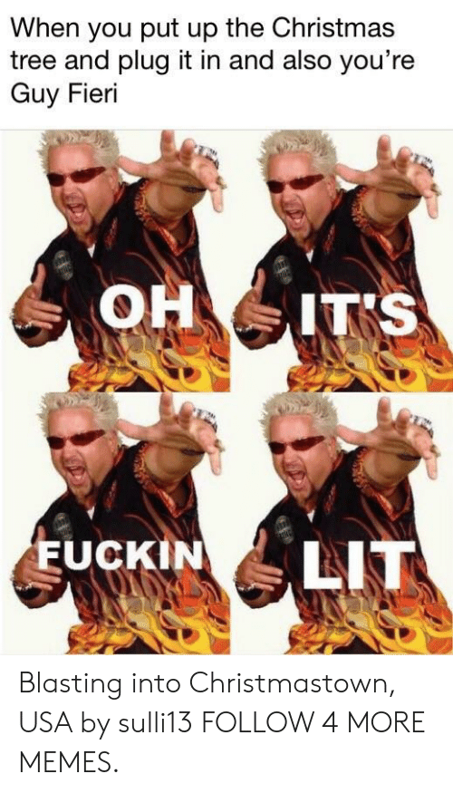 Christmas, Dank, and Guy Fieri: When you put up the Christmas  tree and plug it in and also you're  Guy Fieri  OH IT'S  LIT  EUCKIN Blasting into Christmastown, USA by sulli13 FOLLOW 4 MORE MEMES.